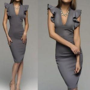 Dresses & Skirts - V Neck Ruffle Bodycon Midi Dress | Coming Soon